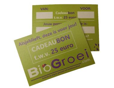 Cadeaubon Biogroei  | Waarde 25 euro